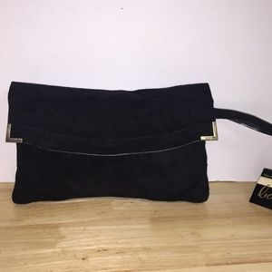 Black Suede Clutch w/Wrist Strap and Gold Accents